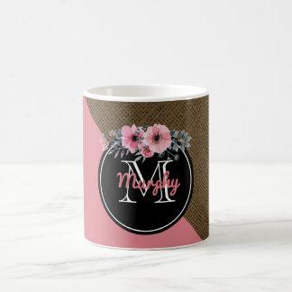 Guirnalda floral de la arpillera de la acuarela taza de café