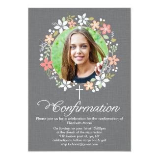 Guirnalda floral de la confirmación invitación 12,7 x 17,8 cm