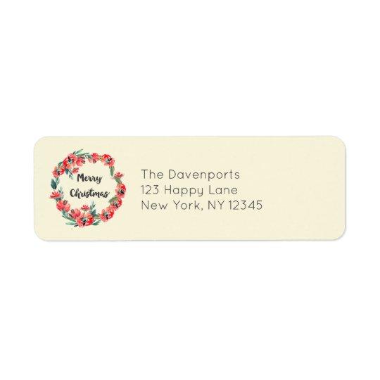 Guirnalda floral roja de la acuarela de las etiquetas de remite