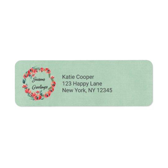 Guirnalda floral roja de la acuarela de los etiqueta de remitente