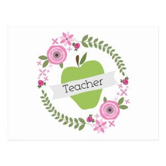 Guirnalda floral rosada y profesor verde de la postal