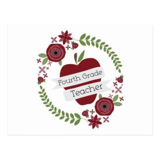 Guirnalda floral y cuarto profesor rojo del grado postal