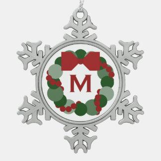Guirnalda geométrica del navidad con el monograma adornos