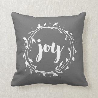 Guirnalda gris de la alegría cojín decorativo
