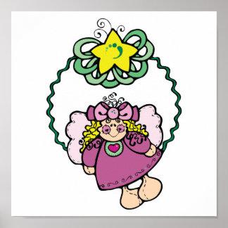 guirnalda linda del ángel del navidad poster