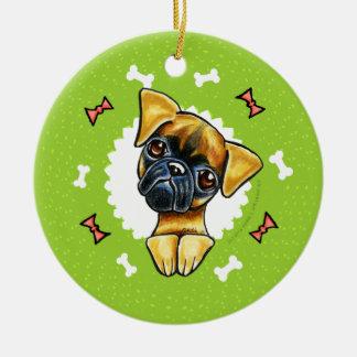 Guirnalda lisa del navidad de los huesos de perro adorno redondo de cerámica