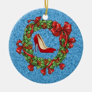 Guirnalda roja de los zapatos del navidad del tacó ornamento para reyes magos