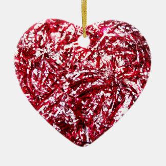Guirnalda roja y de plata del navidad adorno navideño de cerámica en forma de corazón