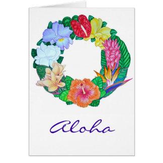 Guirnalda tropical de la hawaiana tarjeta de felicitación