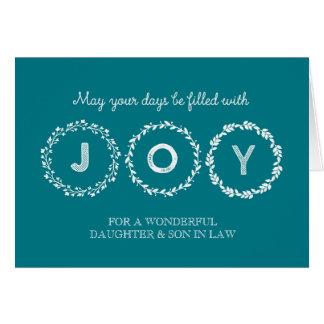 Guirnaldas hija y yerno del navidad de la alegría tarjeta de felicitación