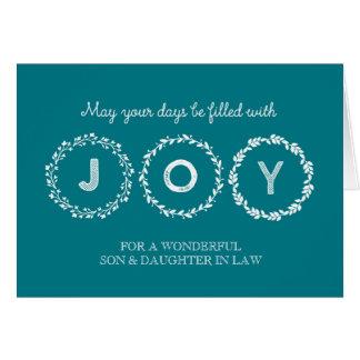Guirnaldas hijo y nuera del navidad de la alegría tarjeta de felicitación