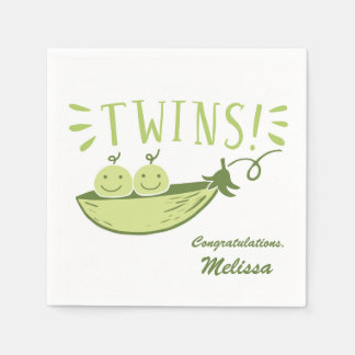 Guisantes de los gemelos en una servilleta de la servilleta desechable