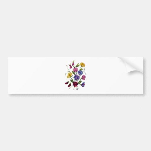 Guisantes de olor hermosos, coloridos, bordados pegatina de parachoque