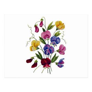 Guisantes de olor hermosos, coloridos, bordados postal