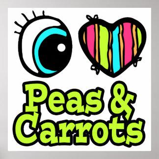 Guisantes y zanahorias brillantes del amor del cor impresiones