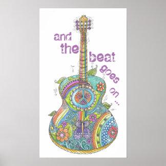 """Guitarra 14"""" del hippy x 24"""" poster"""