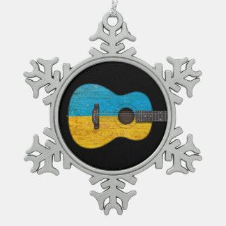 Guitarra acústica de la bandera ucraniana gastada adorno