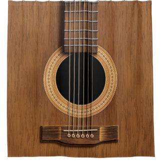 Guitarra acústica de madera caliente cortina de baño