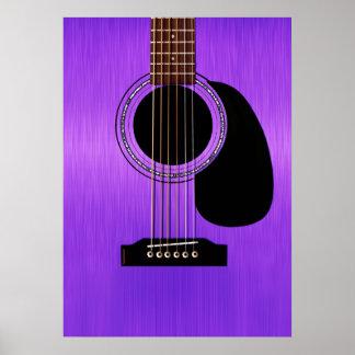 Guitarra acústica púrpura póster