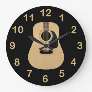 Guitarra acústica reloj redondo grande
