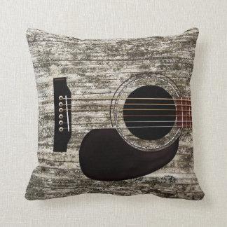 Guitarra acústica superior de madera vieja cojín decorativo