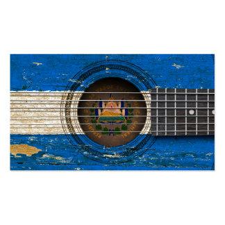 Guitarra acústica vieja con la bandera de El Salva Plantilla De Tarjeta Personal