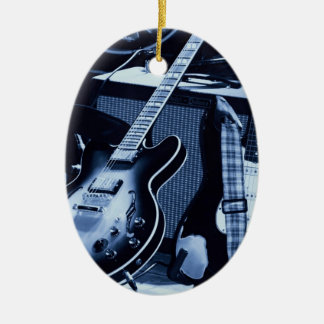 Guitarra azul eléctrica adorno ovalado de cerámica