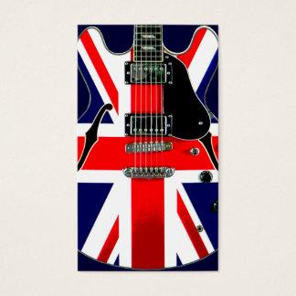 Guitarra británica de Union Jack de la bandera Tarjeta De Negocios
