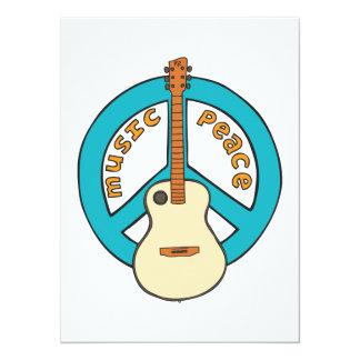 Guitarra de la paz de la música invitación 13,9 x 19,0 cm