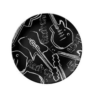 Guitarra de la roca plato de porcelana