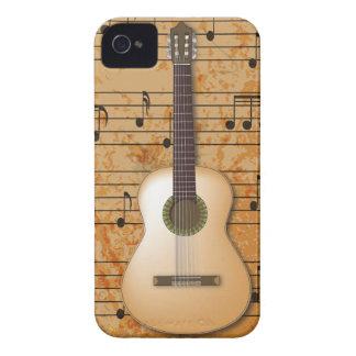 Guitarra de PixDezines+Partitura del vintage iPhone 4 Case-Mate Fundas