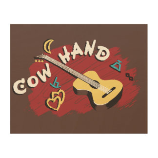 Guitarra del Cowhand del vintage Impresión En Madera