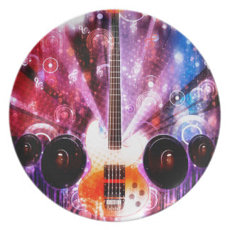 Guitarra del Grunge con los altavoces 3 Plato Para Fiesta