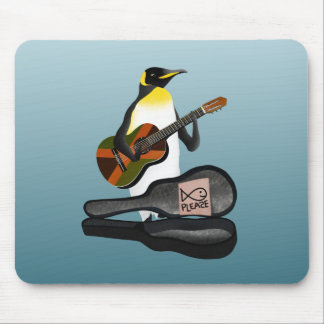 Guitarra del reggae del pingüino alfombrilla de ratón