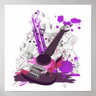 guitarra eléctrica femenina del grunge póster