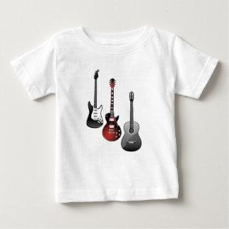 guitarra eléctrica, guitarra acústica camiseta de bebé