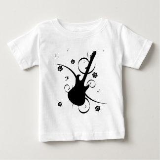 Guitarra eléctrica negra con el estampado de camiseta de bebé