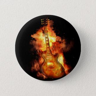 Guitarra en el fuego chapa redonda de 5 cm