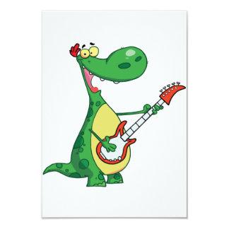 Guitarra que juega invitaciones del dinosaurio invitación 8,9 x 12,7 cm