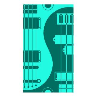 Guitarra y azul bajo del trullo de Yin Yang Plantillas De Tarjetas De Visita