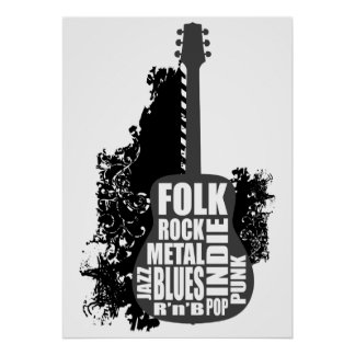 Guitarra y estilos póster