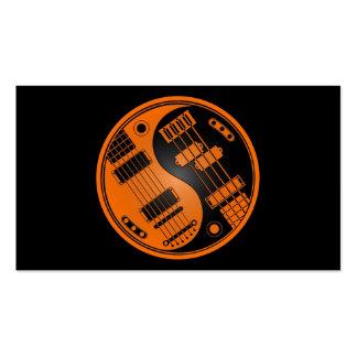 Guitarra y naranja bajo y negro de Yin Yang Tarjetas De Negocios