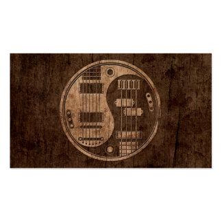 Guitarra y Yin bajo Yang con el efecto de madera d Tarjeta Personal