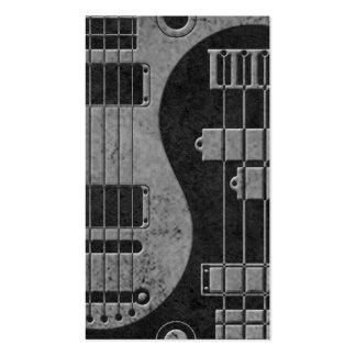 Guitarra y Yin bajo Yang con textura oscura Plantilla De Tarjeta De Visita