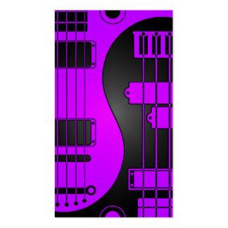 Guitarra y Yin bajo Yang púrpura y negro Plantilla De Tarjeta De Negocio