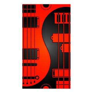 Guitarra y Yin bajo Yang rojo y negro Plantillas De Tarjetas De Visita