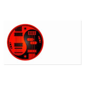 Guitarra y Yin bajo Yang rojo y negro Tarjeta Personal