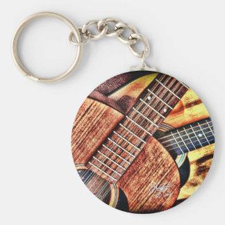 Guitarras del alto contraste llavero redondo tipo chapa
