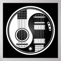 Guitarras eléctricas acústicas blancas y negras Yi Posters