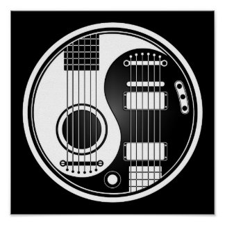 Guitarras eléctricas acústicas blancas y negras Yi Póster